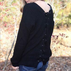 Umgee Lace Back Black Sweater